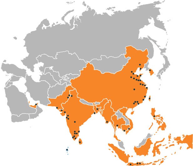 Dotted Asia - incl Thailand